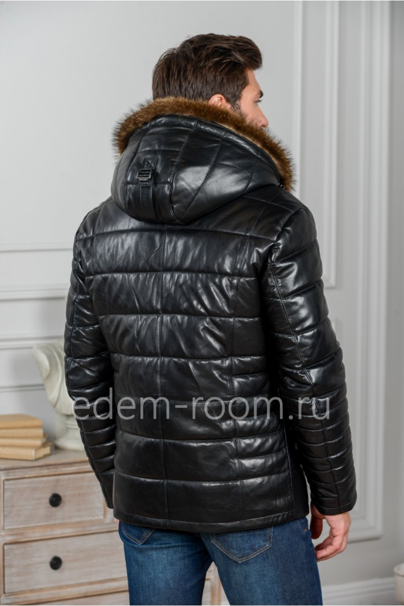 Теплая мужская куртка из кожи