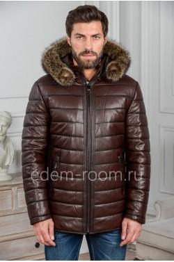 Коричневая мужская куртка из кожи