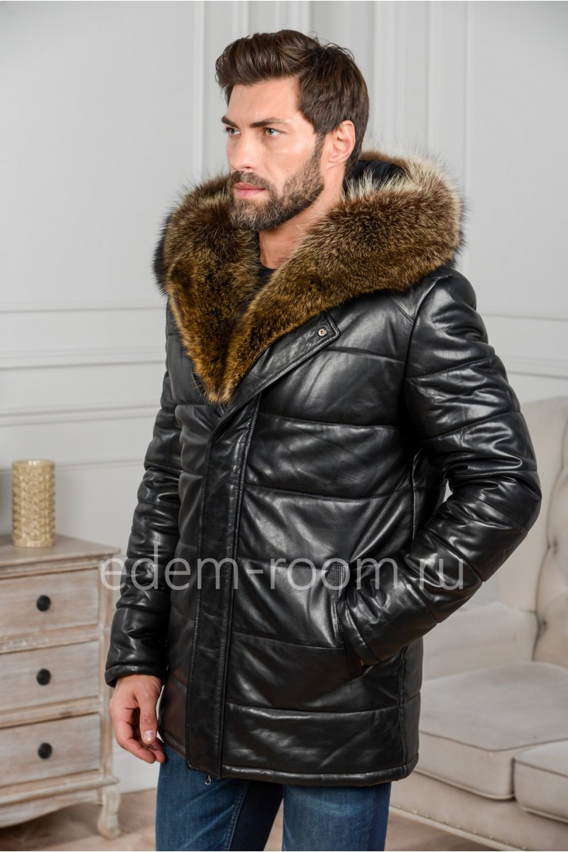 Зимняя мужская кожаная куртка с меховым капюшоном
