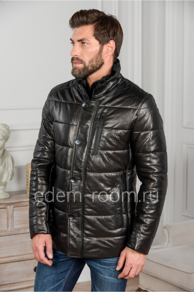 Мужской кожаный пуховик - 2018