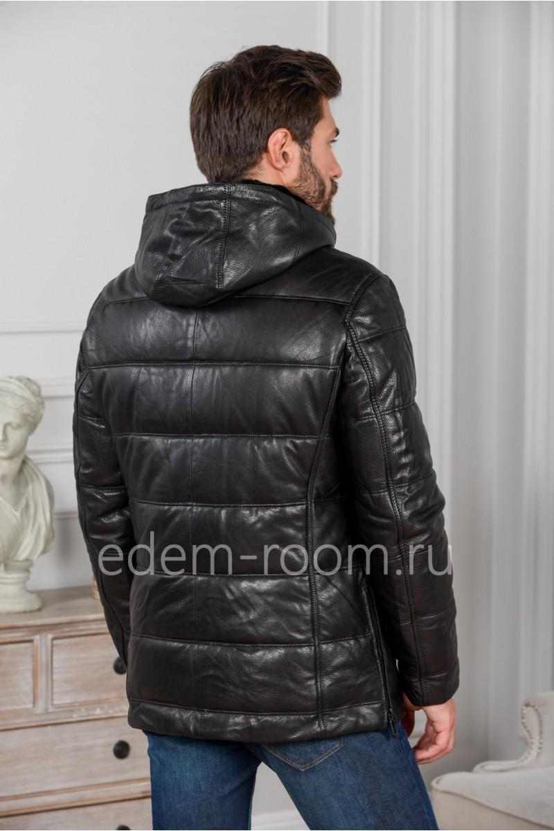 Чёрный кожаный пуховик - 2018