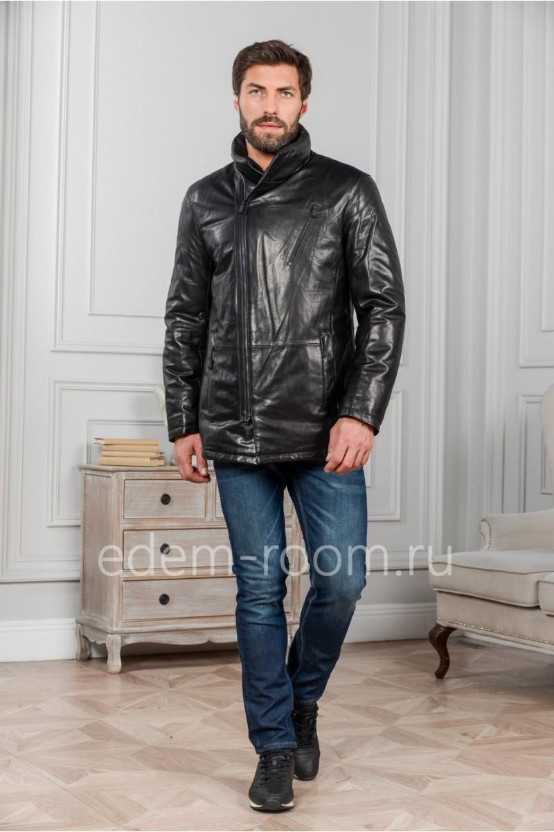 Кожаная куртка без капюшона