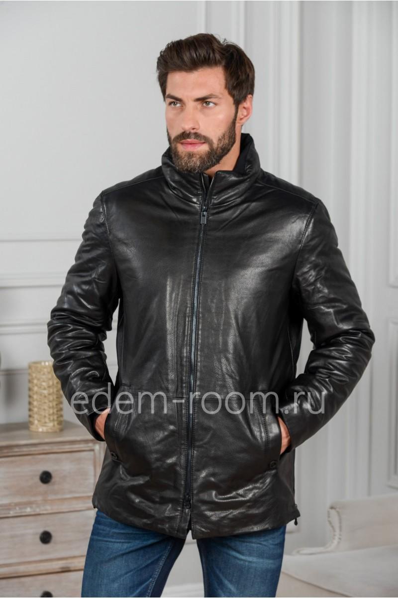 Мужская кожаная куртка на пуху