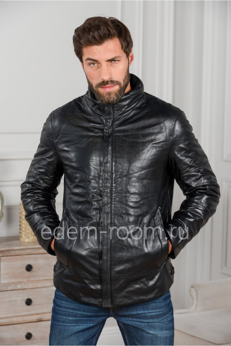 Тёплая кожаная куртка без капюшона