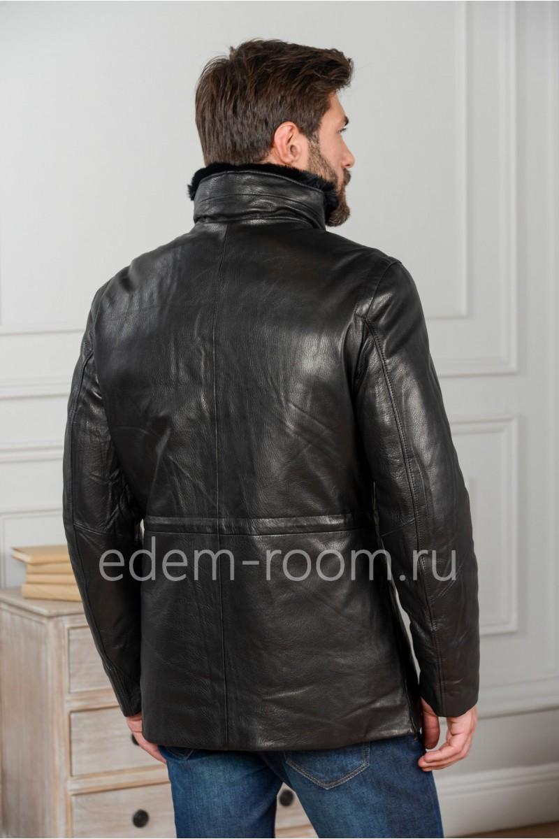 Теплая кожаная куртка