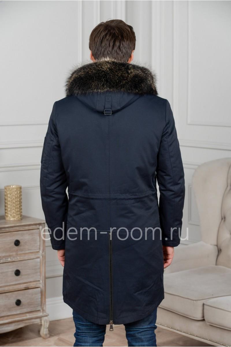 Удлинённая зимняя мужская куртка