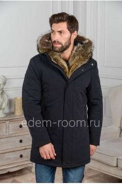 Мужская куртка с капюшоном и мехом