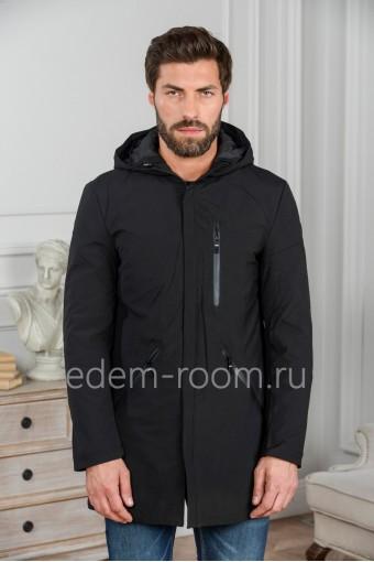 Чёрная мужская куртка с капюшоном