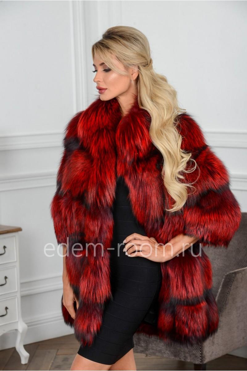 Красная шуба из меха лисы