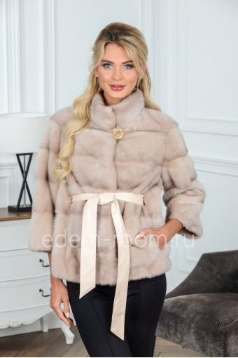Норковая куртка под пояс