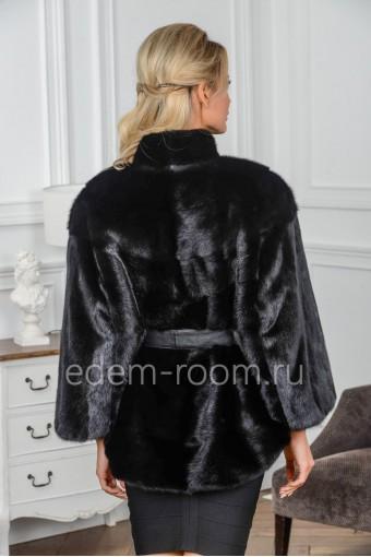 Норковое пончо черного цвета - Зима 2020