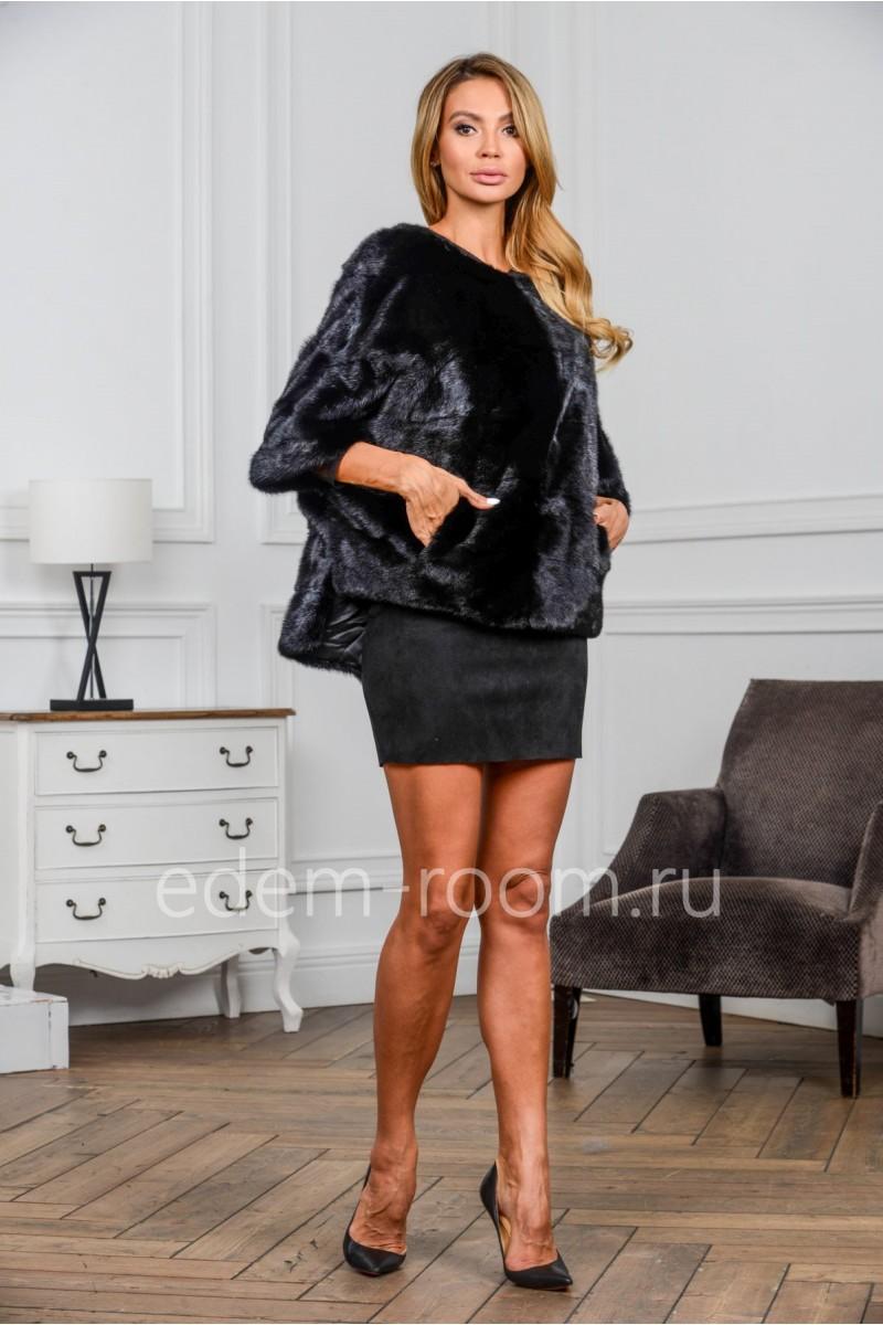 Модная норковая кофта, черный цвет