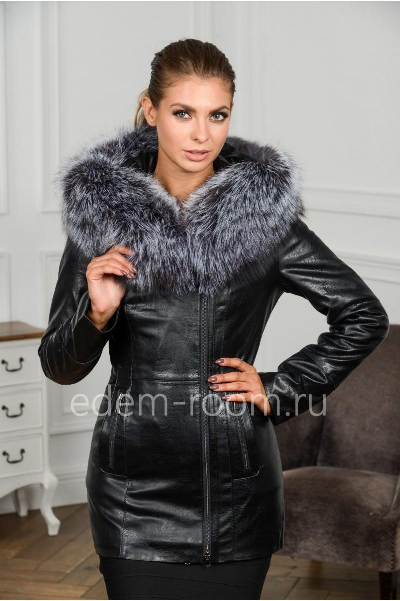 Утеплённая куртка из эко-кожи для осени