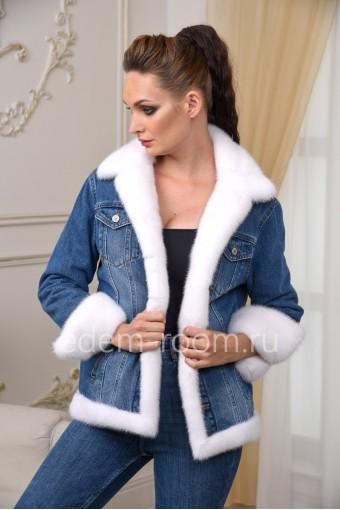 Джинсовая куртка с мехом белой норки