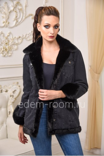 Джинсовая куртка с мехом норки на прохладную погоду