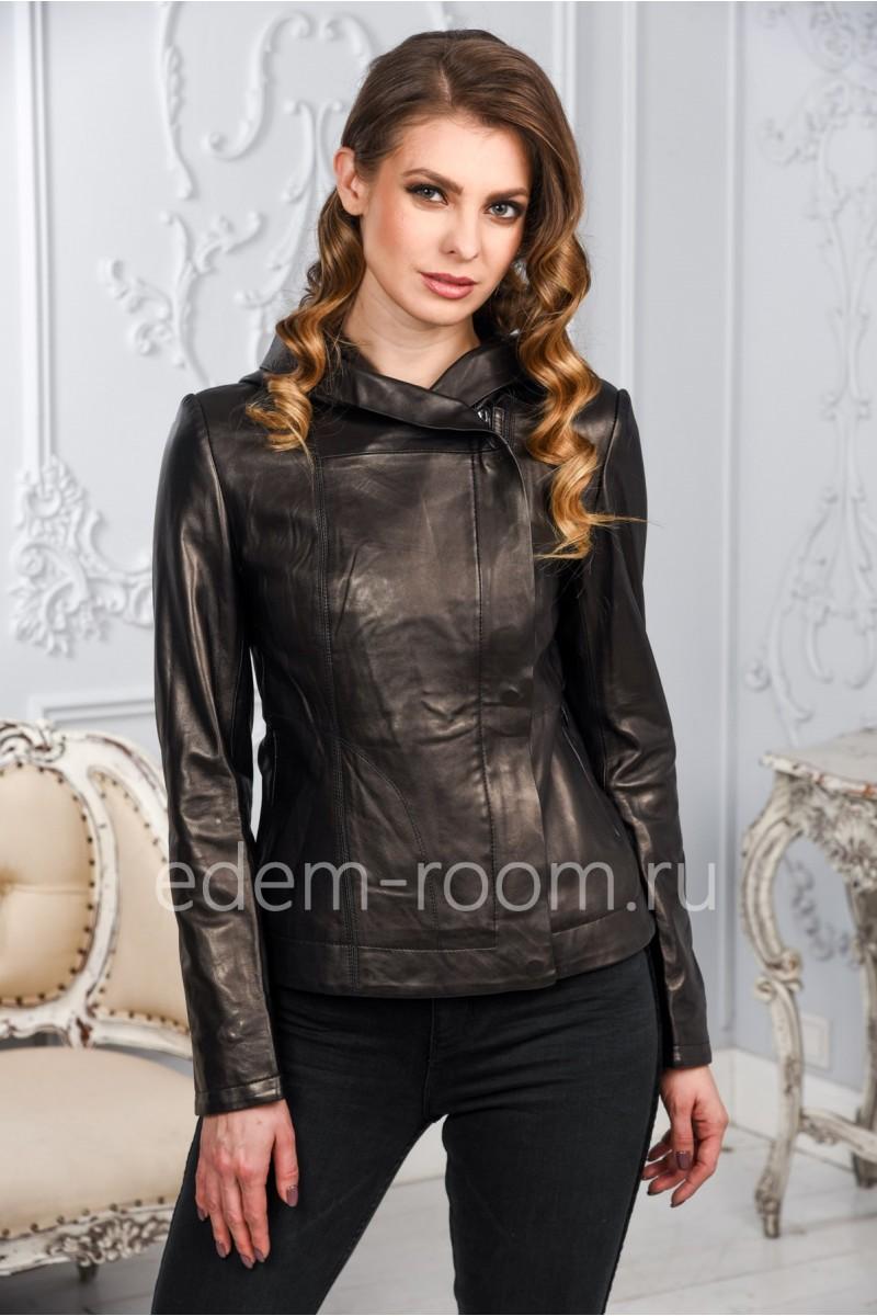 Женская кожаная куртка с капюшоном, черная