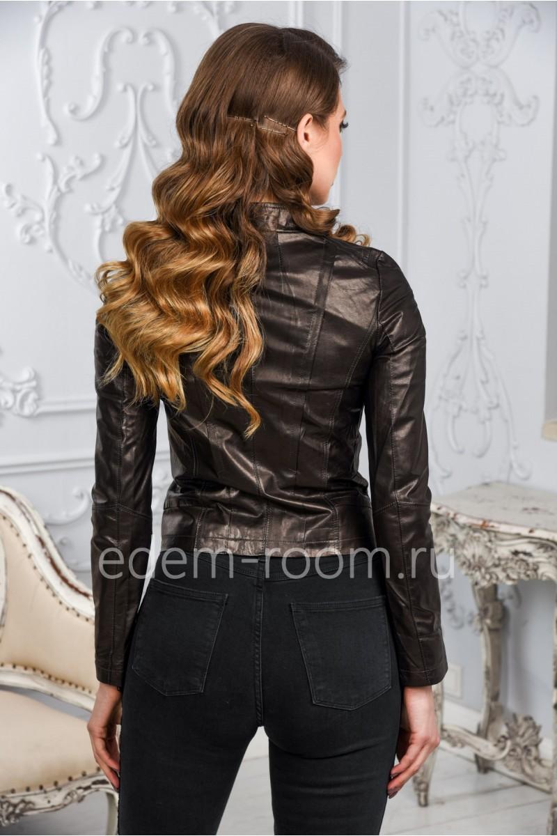 Чёрная женская кожаная куртка из кожи