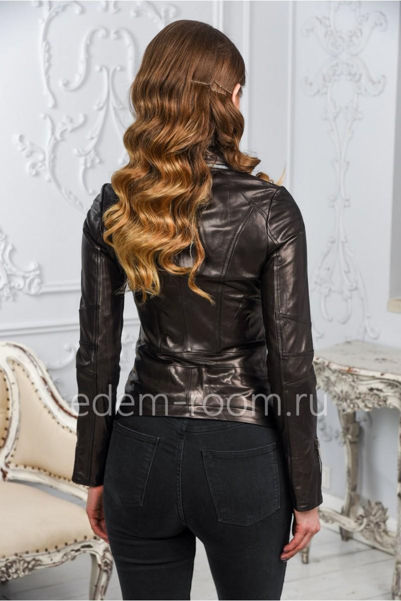 Женская кожаная куртка -воротник стойка