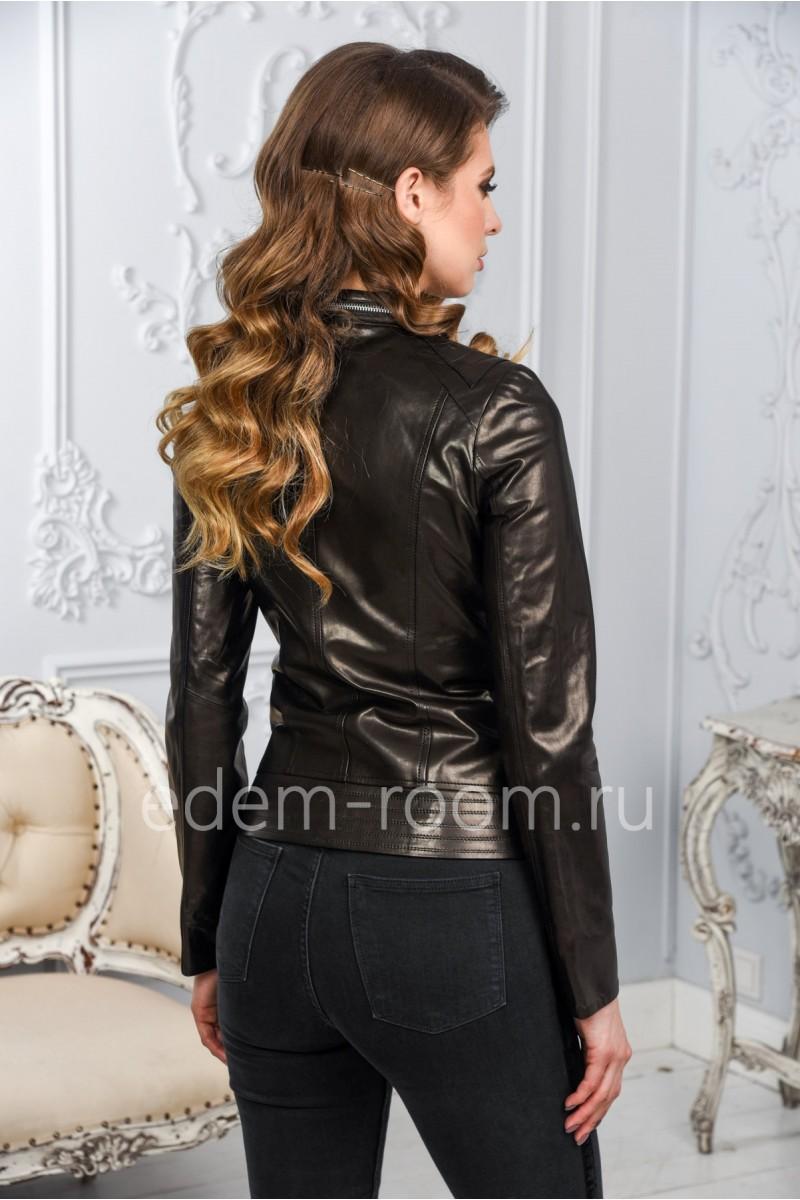 Женская кожаная куртка черная