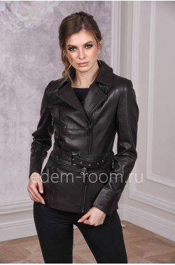 Кожаная куртка с поясом