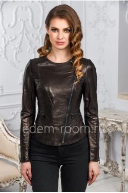 Женская кожаная куртка с круглым воротником