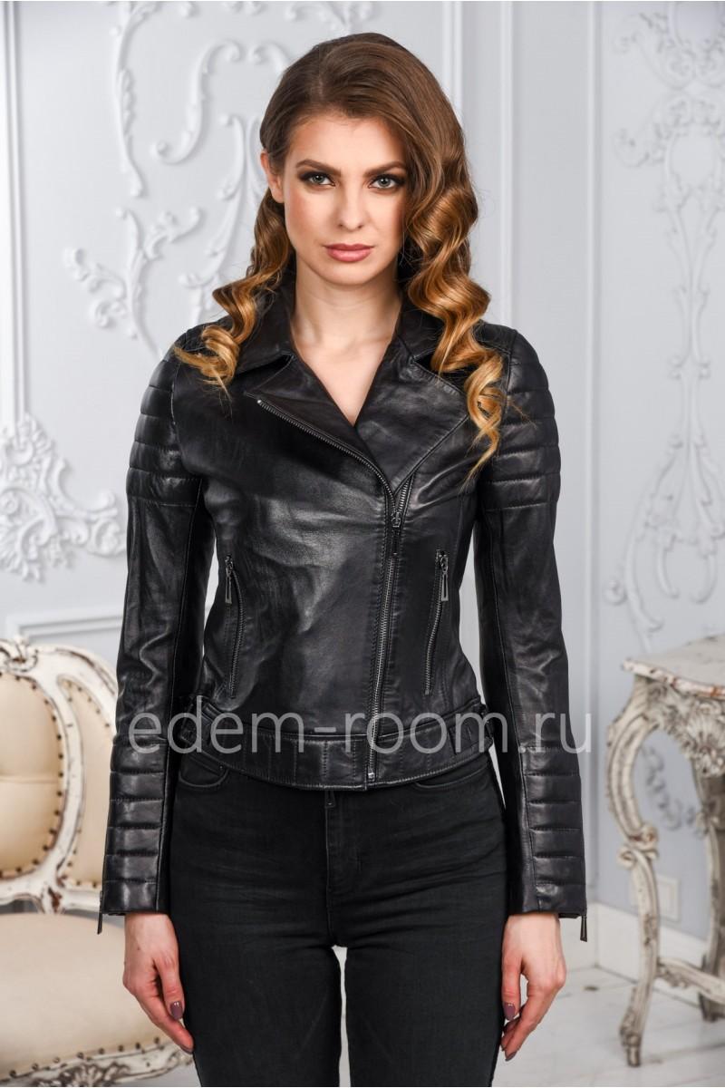 Турецкая кожаная куртка - косуха для женщины