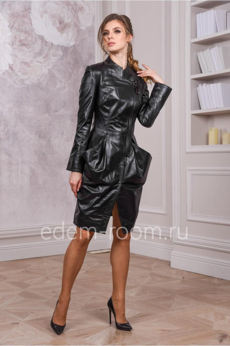 Кожаный плащ с накладными карманами