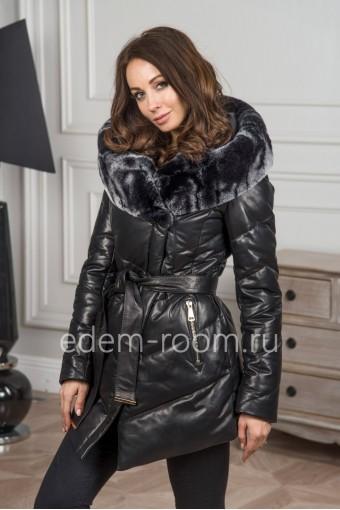 Зимняя кожаная куртка - пуховик