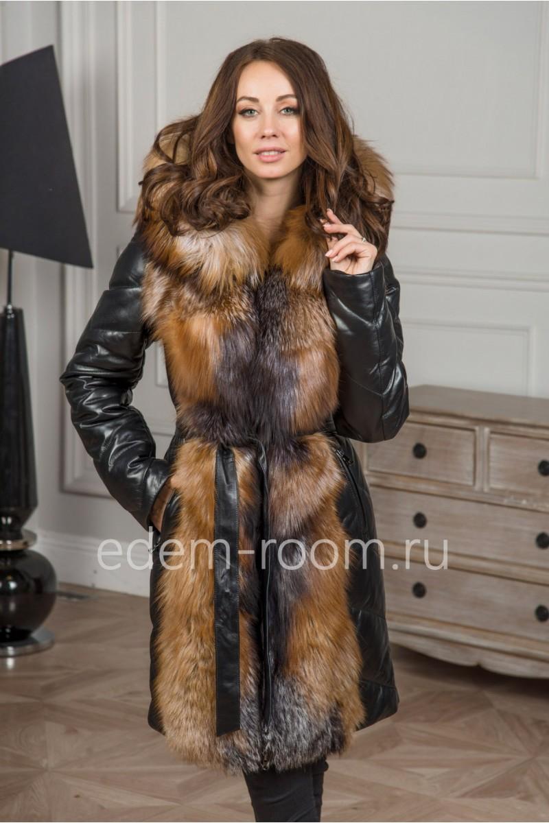 Кожаный пуховик - пальто