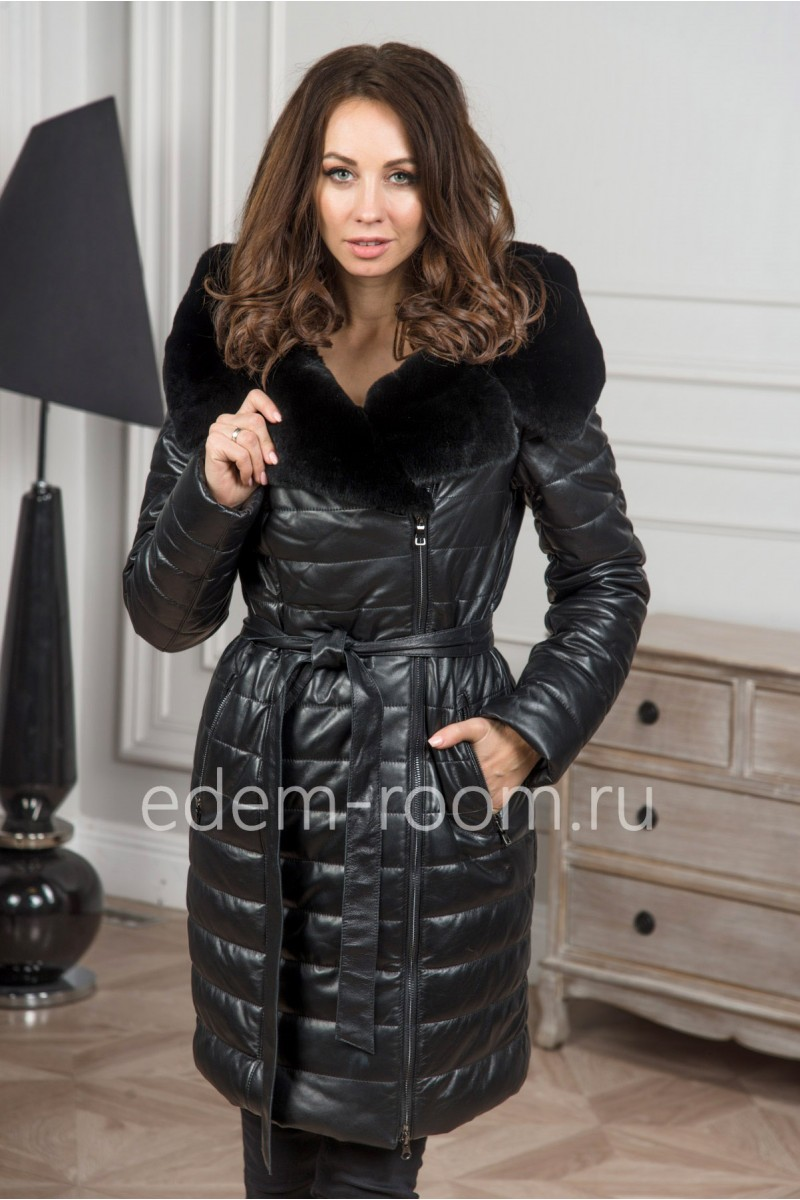 Кожаное зимнее пальто