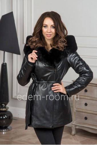 Зимняя утеплённая куртка из кожи с капюшоном