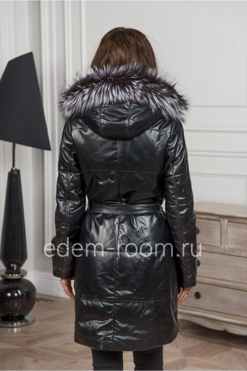 Женское - тёплое пальто из кожи