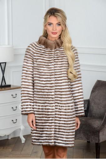 Пальто из меха норки и кролика