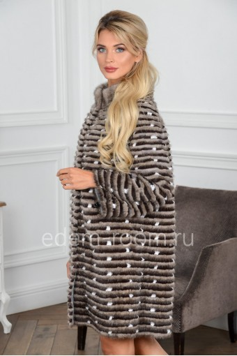 Теплое пальто из норки и кролика