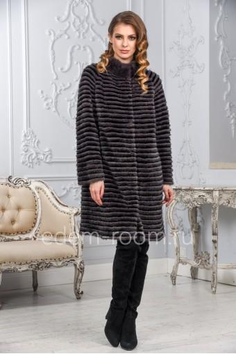 Меховое пальто из норки на кашемире