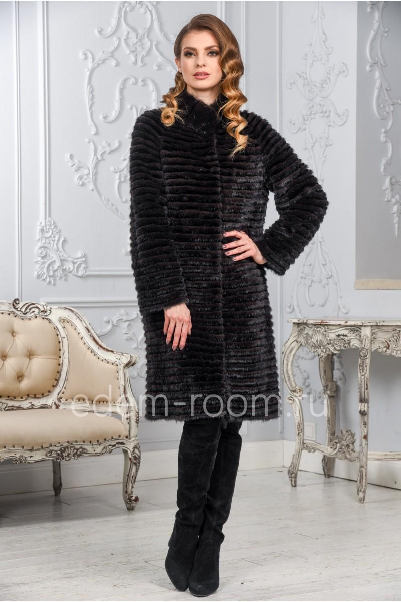 Комбинированное меховое пальто из норки