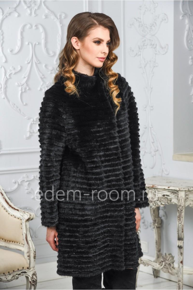Чёрное пальто из норки на кашемире