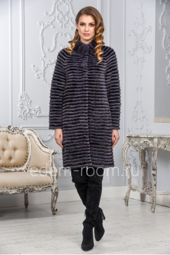 Комбинированное меховое пальто из меха норки и кролика