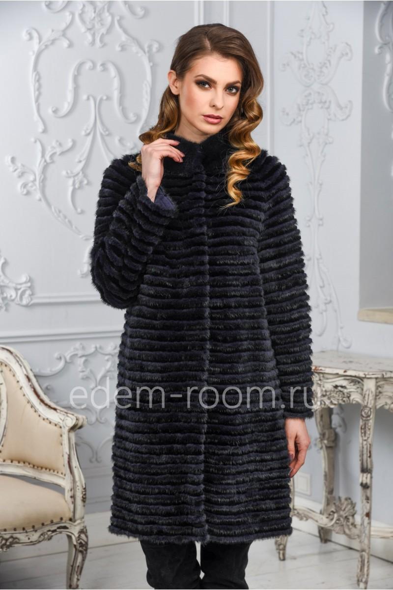 Демисезонное пальто из норки и кролика
