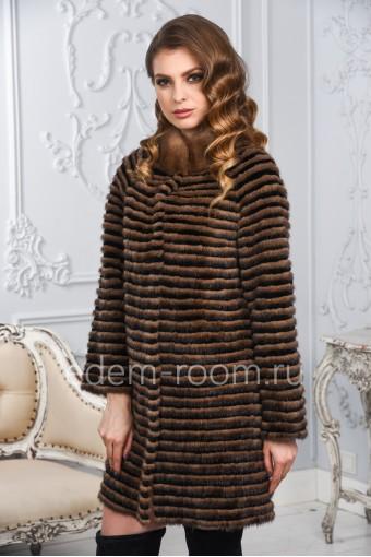 Облегчённое меховое пальто из норки