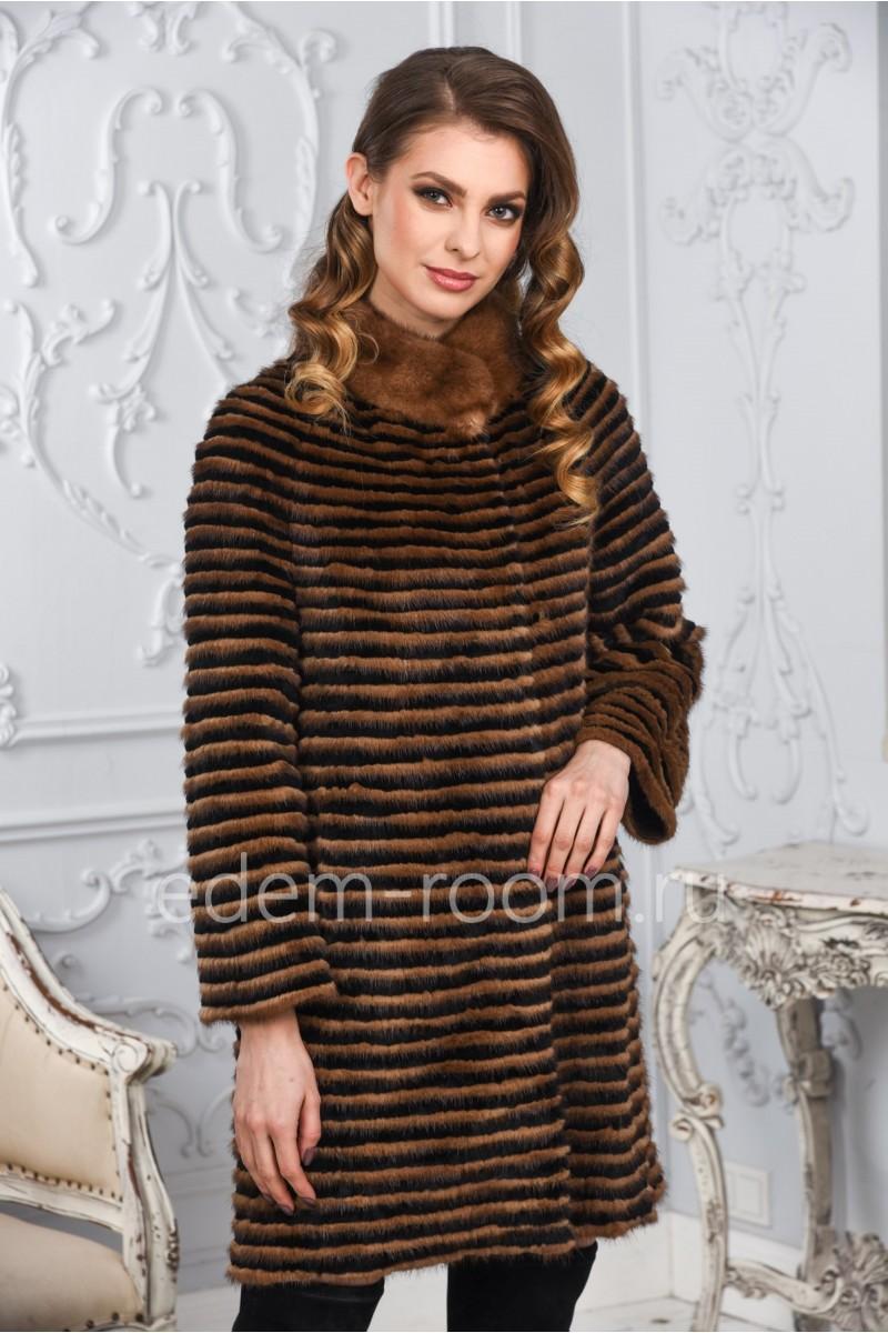 Комбинированное пальто из меха норки на кашемире