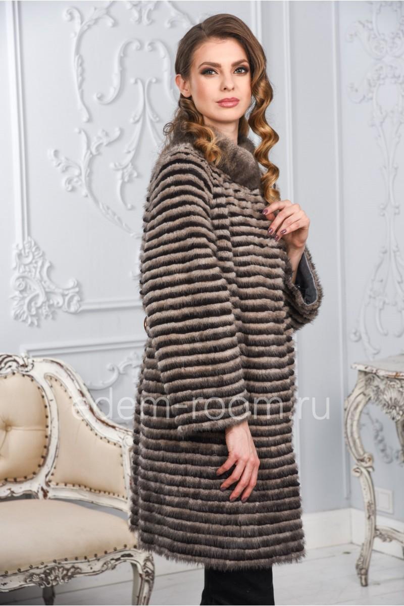 Норковое пальто в росшив на кашемире