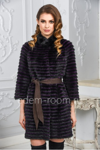 Меховое пальто из меха норки на кашемире