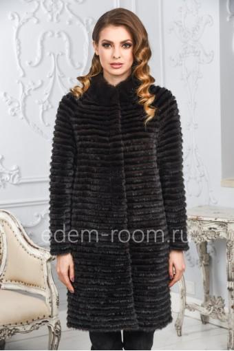 Меховое пальто из комбинированного меха норки и кролика