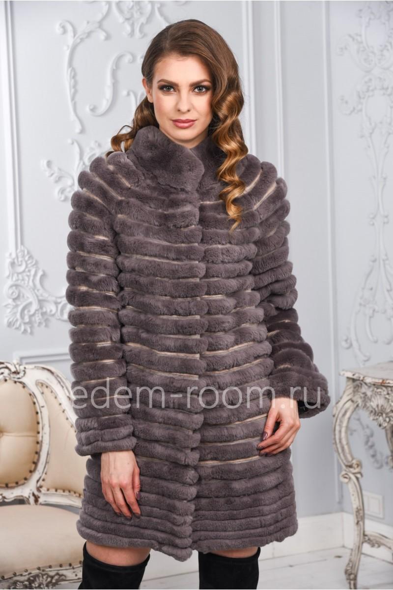 Меховое пальто из кролика Рекс на кашемире