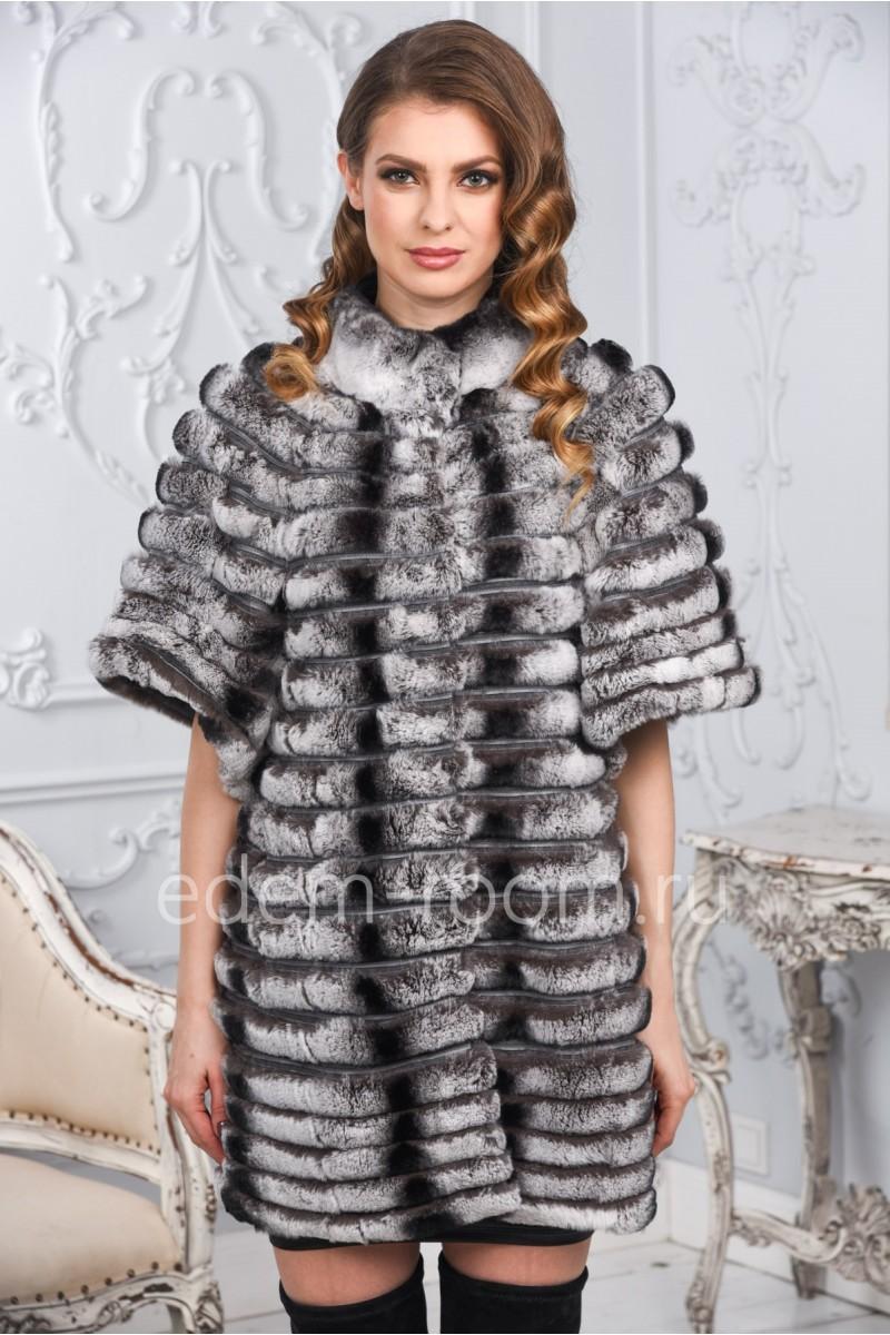 Меховое пальто из шиншиллового кролика