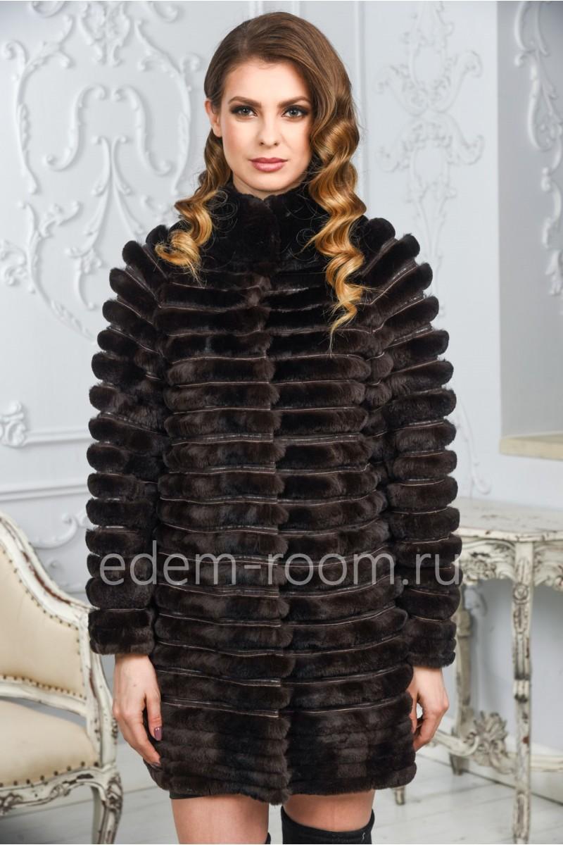 Демисезонное пальто из кролика на кашемире