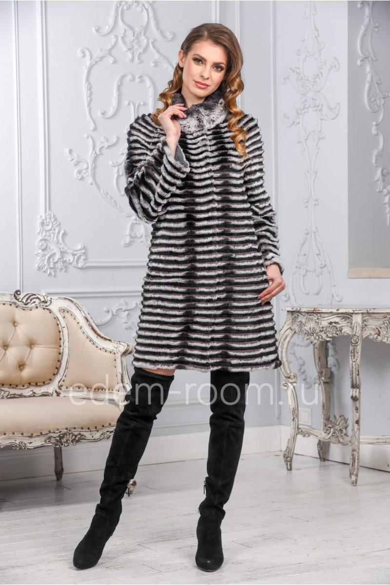 Облегчённое пальто из кролика на кашемире