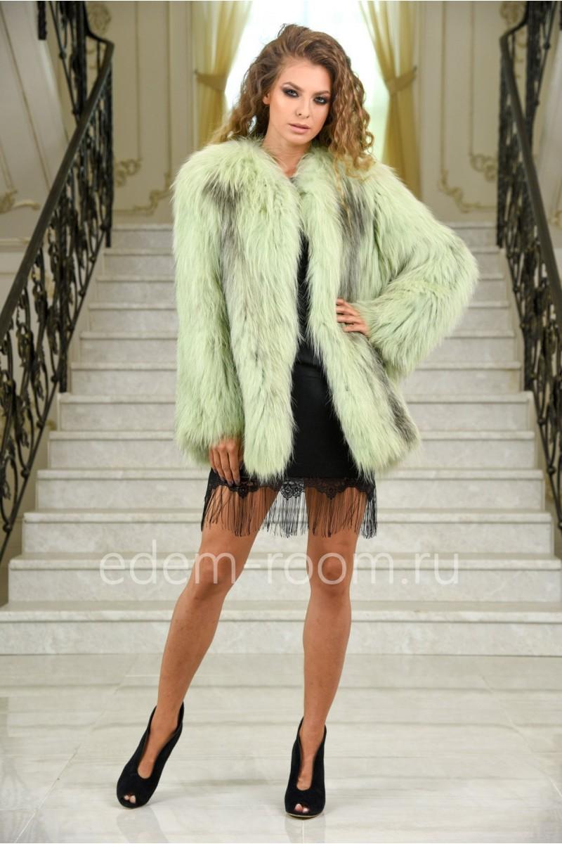 Меховое вязаное пальто