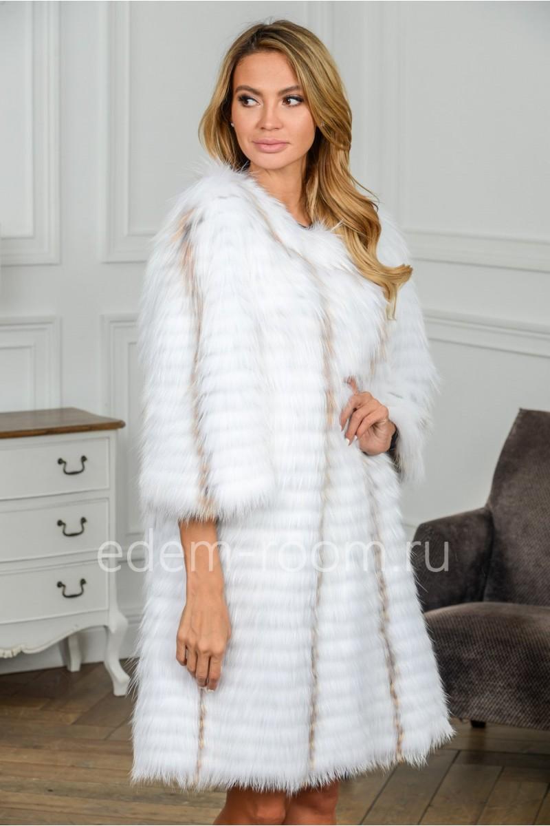 Белое пальто из лисы